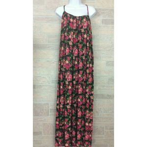 Calvin Klein Pink Black Floral Print Maxi Dress